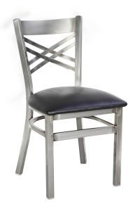 Custom Frame Metal Cross Back Side Chair