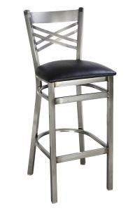 Clear Coat Distressed Finish Metal Cross Back Bar Stool (Front)