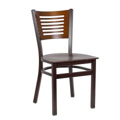 Narrow-Slat Back Metal Side Chair