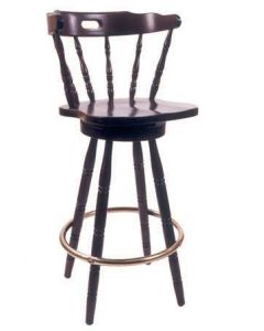 Captain Mate Bar Stool with Solid Beechwood Seat in Walnut