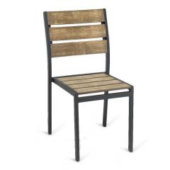 Black Frame Outdoor Restaurant Chair With Brushed Brown Synthetic Teak Slats