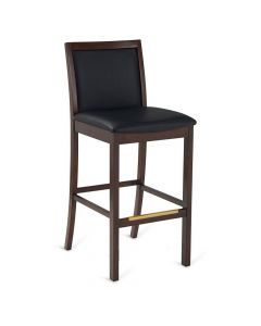 Stanley Upholstered Bar Stool in Walnut Wood