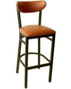 Upholstered Metal Kidney Barstool with Nailhead Trim