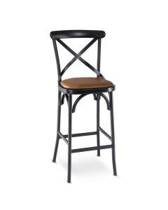 Upholstered Metal Cross-Back Bar Stool