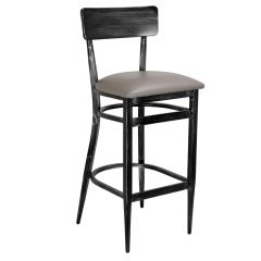 Antique Gray Commercial Bar Stool - Upholstered Seat (Front)