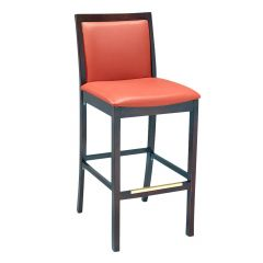Walnut Wood Morgan Restaurant Bar Stool with Upholstered Seat & Back (front)