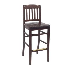 Dark Mahogany Wood Bulldog Commercial Bar Stool with Solid Beechwood Seat (front)