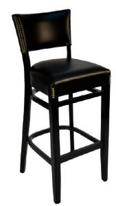 Fully Upholstered Dining Bar Stool with Nailhead Trim (front)