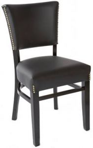 Fully Upholstered Dining Side Chair with Nailhead Trim (front)