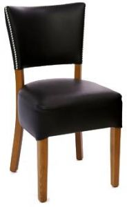 Deluxe Nailhead Trim Fully Upholstered Dining Chair (side)