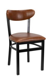 Metal Kidney Side Chair with Upholstered Seat and Back