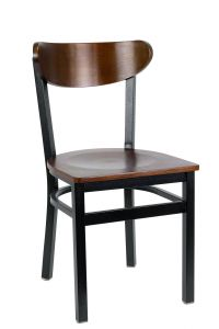 Metal Kidney Side Chair With Veneer Seat and Back (Front)