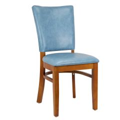 Westwood Designer Side Chair with Fully Upholstered Seat and Back in Cherry Finish (front)