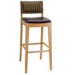 Fully Upholstered Signature Side Bar Stool with Nailhead Trim (front)