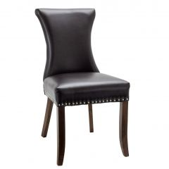 Fully Upholstered Tall Back Side Chair With Chrome Nailhead Trim (Front)