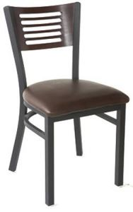 Metal and Wood Index Chair With Upholstered Seat (Front)