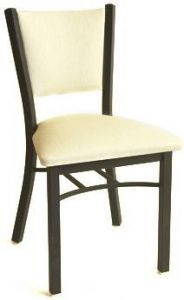 Stackable Upholstered Back Metal Chair