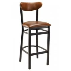 Upholstered Metal Kidney Bar Stool with Nail head Trim