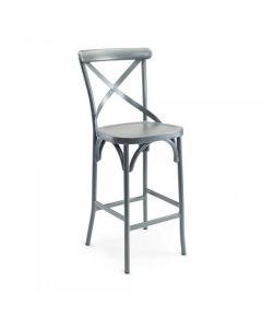 Aluminum Cross-Back Outdoor Barstool