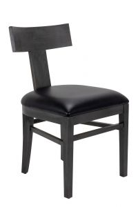 Midnight Gray T-Back Wood Side Chair (Front)