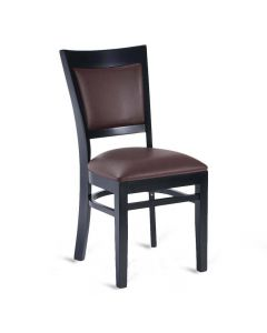 Fully Upholstered Solid Wood Leo Side Chair - Black Frame/Burgundy Vinyl