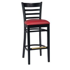 Black Wood Ladderback Commercial Bar Stool with Upholstered Seat (front)