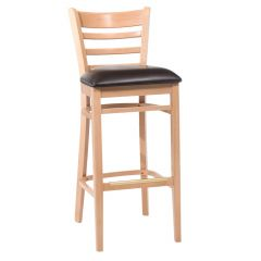 Natural Wood Ladderback Commercial Bar Stool with Upholstered Seat (front)