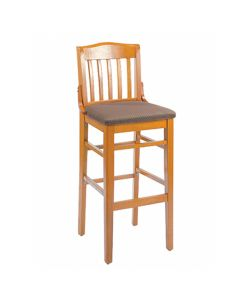 Elite Schoolhouse Barstool With Upholstered Seat in Cherry