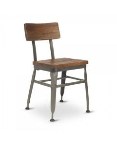 Reclaimed Wood-Back Steel Chair