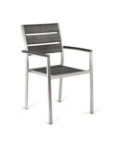 Aluminum Frame Outdoor Arm Restaurant Chair With Pewter Synthetic Teak Slats