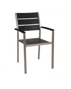 Aluminum Frame Outdoor Restaurant Arm Chair With Black Synthetic Teak Slats (Front)