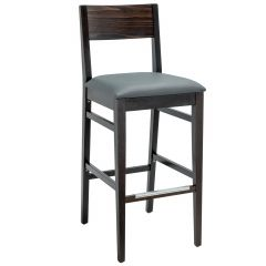 Solid  Beechwood Square Back Upholstered Bar Stool (Front)