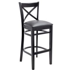 European Cross Back Barstool With Solid Wood Seat (Front)