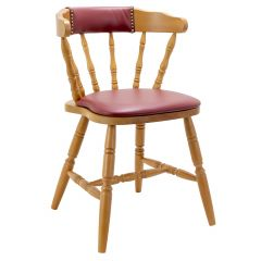 Upholstered Back Captain Mate Chair in Honey Oak (front)