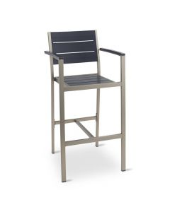 Aluminum Frame Outdoor Restaurant Black With Black Synthetic Teak Slats With Arms (Front)