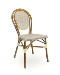 Aluminum Frame Bamboo Look Outdoor Chair with Rounded Back (Front)