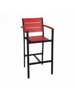 Black Frame Outdoor Arm Restaurant Bar Stool with Red Synthetic Teak Slats (Front)