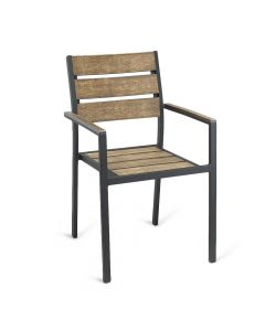 Black Frame Outdoor Restaurant Arm Chair With Brushed Brown Synthetic Teak Slats (Front)