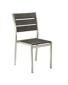 Aluminum Frame Outdoor Restaurant Chair With Pewter Synthetic Teak Slats (Front)