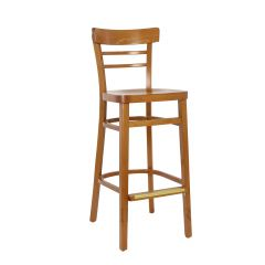 Cherry Wood Eco-Ladderback Commercial Bar Stool with Veneer Seat (front)