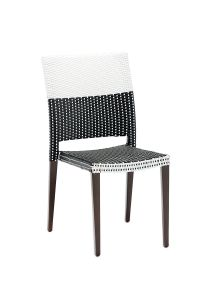 Aluminum Frame Black and White Synthetic Wicker Chair (Side)