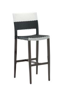Aluminum Frame Black and White Synthetic Wicker Chair With Arms (Side)