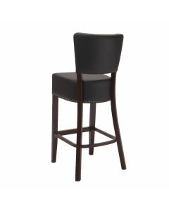 Fully Upholstered Commercial Dining Bar Stool with Nailhead Trim