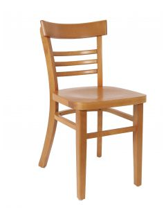 Small Ladderback Side Chair in Cherry with Wood Saddle Option (Front)