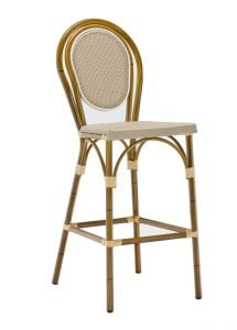 Aluminum Frame Bamboo Outdoor Bar Stool with Rounded Back (Front)