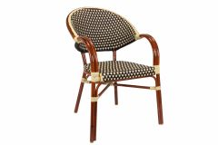 Rounded Back Aluminum Bamboo Look Arm Chair (Front)