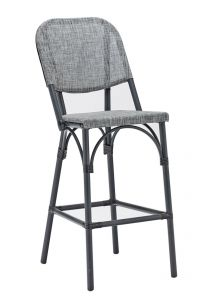 Aluminum Frame with Charcoal Look Outdoor Bar Stool (Side)
