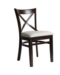 European Cross Back Side Chair with Upholstered Seat in Walnut(Front)