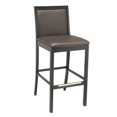 Fully Upholstered Black Wood Morgan Restaurant Bar Stool