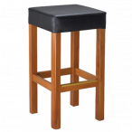 Cherry Wood Morgan Restaurant Backless Bar Stool with Square Upholstered Seat